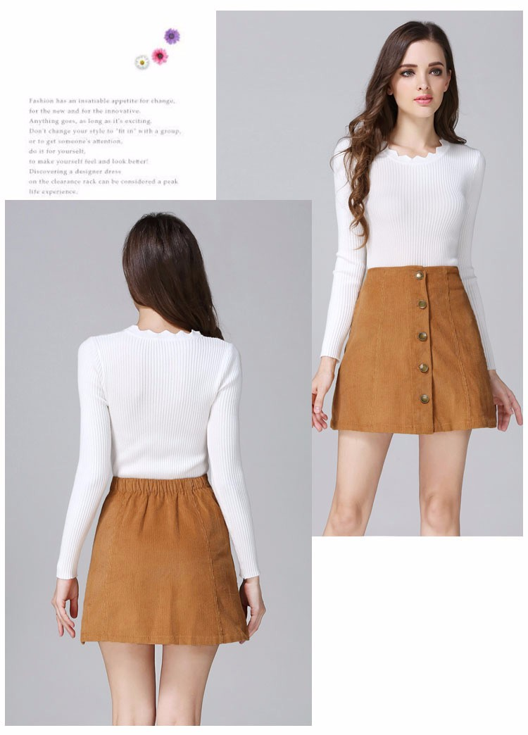 Saia 2016 Autumn vintage fashion corduroy high waist sexy mini skirt winter short a line skirts black gray casual skirts A802 e