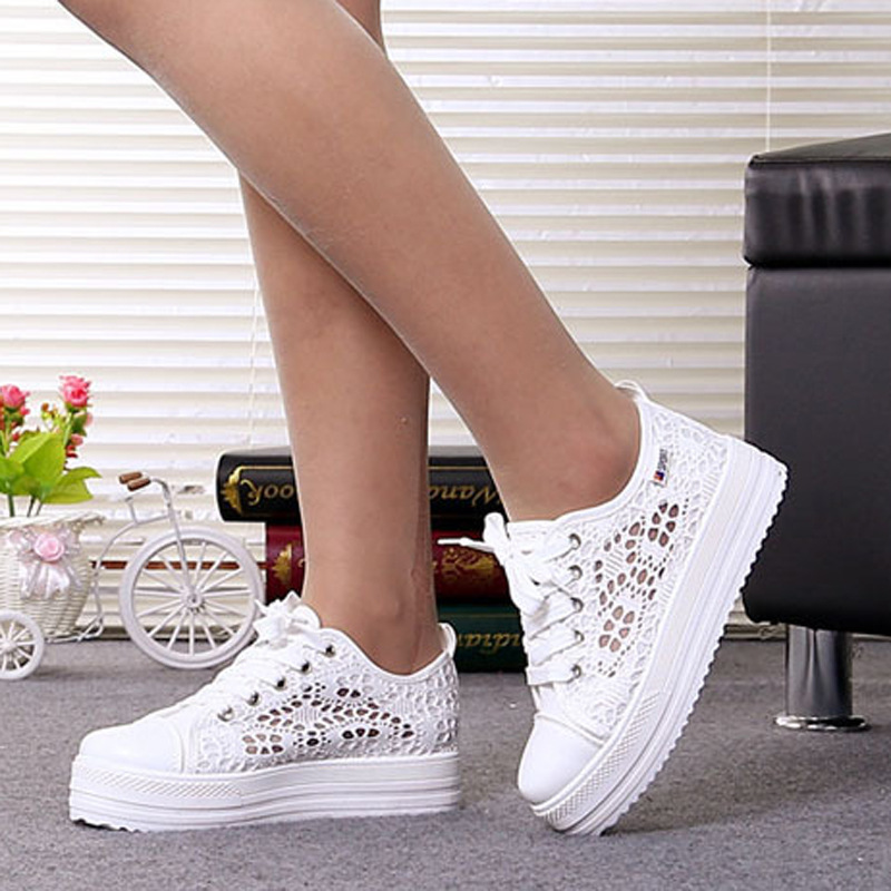 Vulcanize Shoes Platform Sneakers Women Canvas White Breathable Fashion Women's Lace