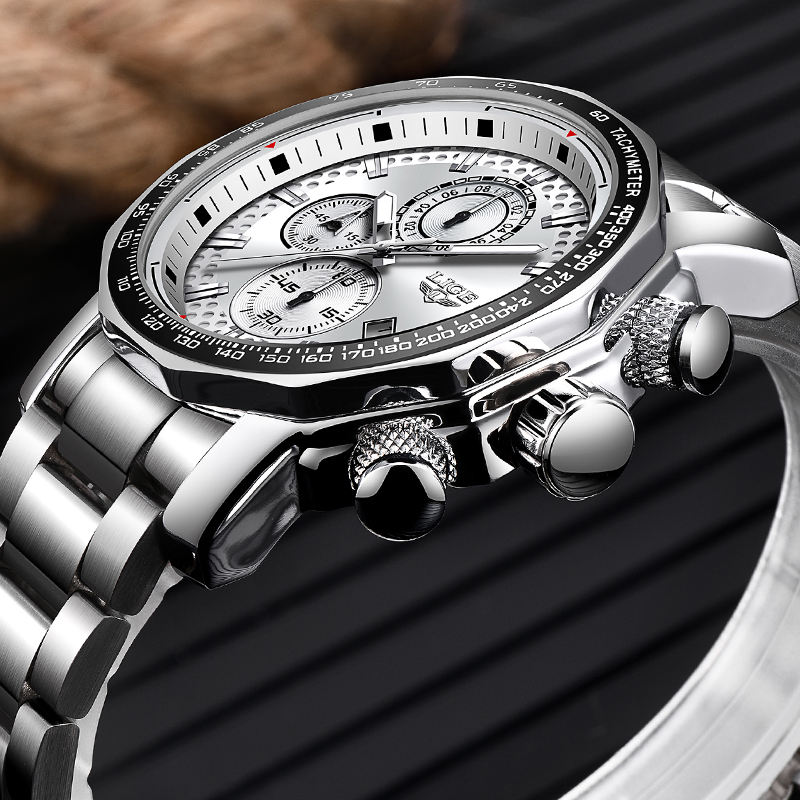New LIGE Men s Top Luxury Brand Watch Men s Fashion Sports Waterproof Watch Stainless Steel