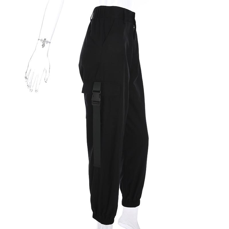 Sweetown Plus La Taille Harajuku Pantalon Cargo Femmes Noir Taille Haute  Pantalon Bomber Femme Street Style Femmes Joggeurs pantalons de Survêtement  dans ... a922025913fd