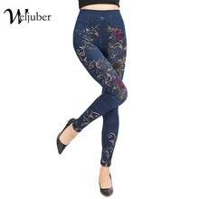 b4d300725b44c Weljuber Для женщин макет карман леггинсы осень 2017 г. с цветочным принтом  узкие джинсы леггинсы женские Джеггинсы Женские джин.