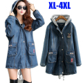 New 2015 Autumn Winter plus size fashion hooded denim trench coat long sections warm padded women jacket jeans outwear top XXXXL