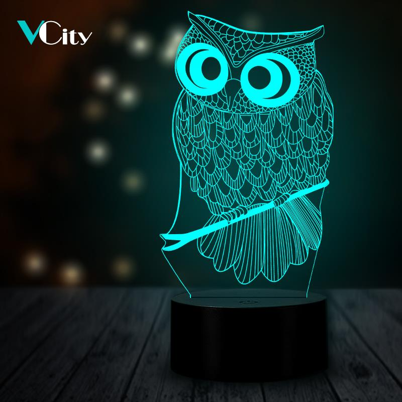 VCity Owl 3D Night Light Lamp Lighting LED USB Mood Lights Multicolor Luminaria Novelty Animal Bedside Decor Gifts For Kids