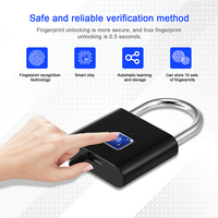 security keyless USB rechargeable door lock fingerprint smart padlock quick unlock Zinc alloy metal self