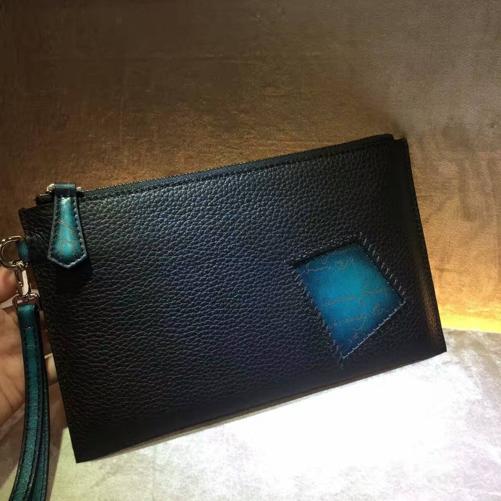 TERSE_New release handmade leather clutch bag with wrist loop top quality genuine leather envelope clutch bag custom service