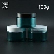 120 gam Nhựa Màu Xanh Lá Cây Chai Kem Bơm Lại Jar Mỹ Phẩm Cơ Thể Mặt Nạ Kem Dưỡng Da Đóng Gói Bột Container Ánh Sáng Tránh Vô Hình
