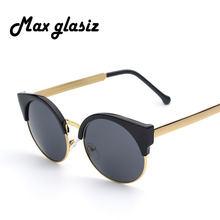 d393a60ae09 Mirrored sunglass Round Circle Lens mujer Gafas de sol puntos mujer Gafas  marca diseñador hombres lunette de Soleil