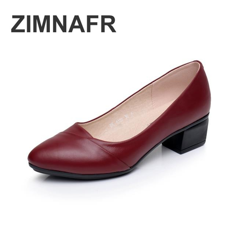 ZIMNAFR BRAND NEW PUMPS WOMEN SHOES  GENUINE LEATHER SRING LADIES  OFFICE SHOES THICK HEEL PUMPS WOMEN SHOES SIZE 35-40