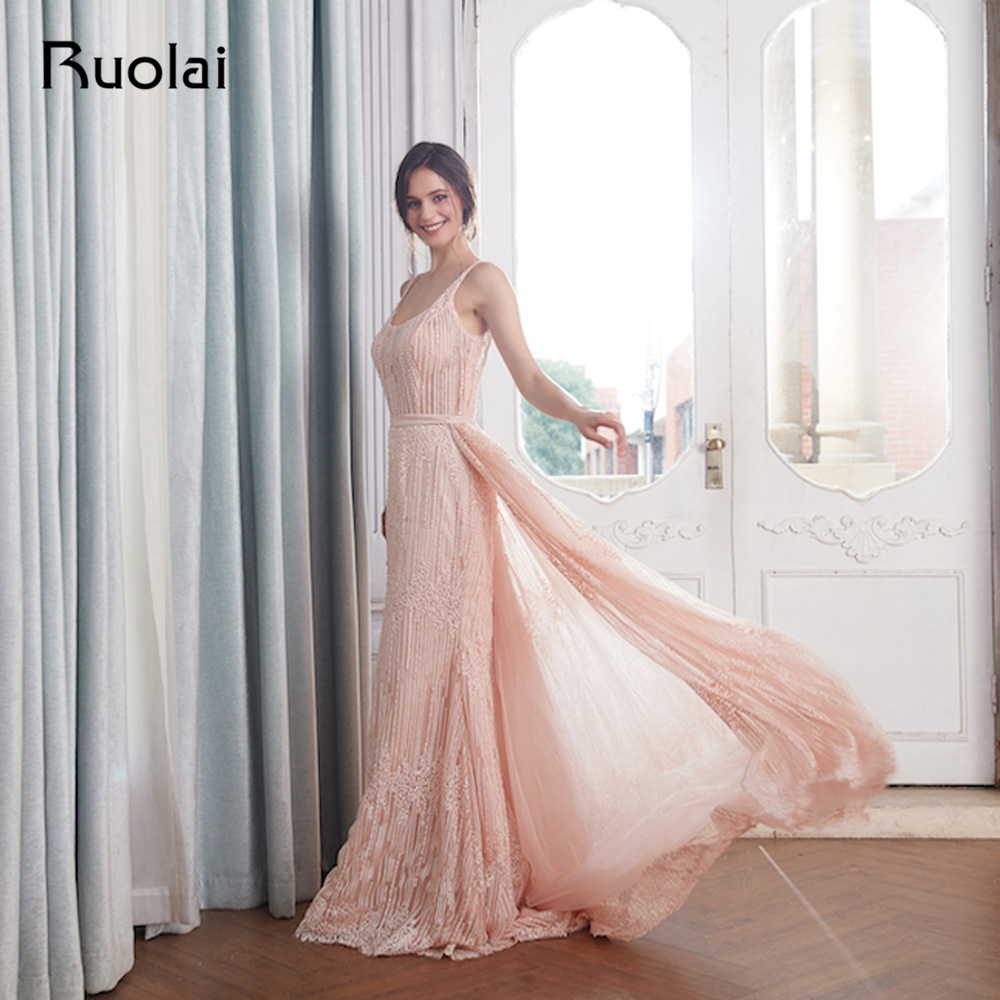 2019 Elegant Mermaid Evening Dresses Long Removable Train Flower Real Photo Lace Prom Dress 2019 Robe de Soiree RE22 in Evening Dresses from Weddings Events