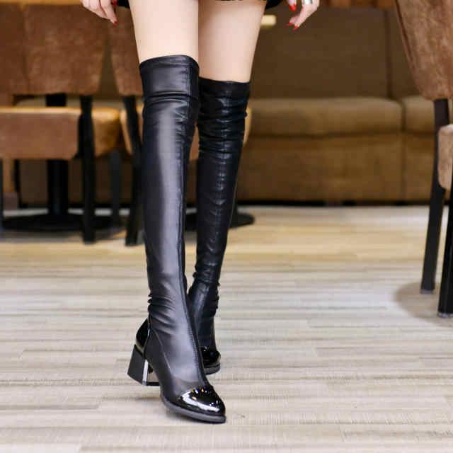 Moda kadın rahat Kare topuk Diz çizmeler Ayakkabı kadın Kadın kış sıcak Yüksek Topuklu pompalar elbise Kar Botları