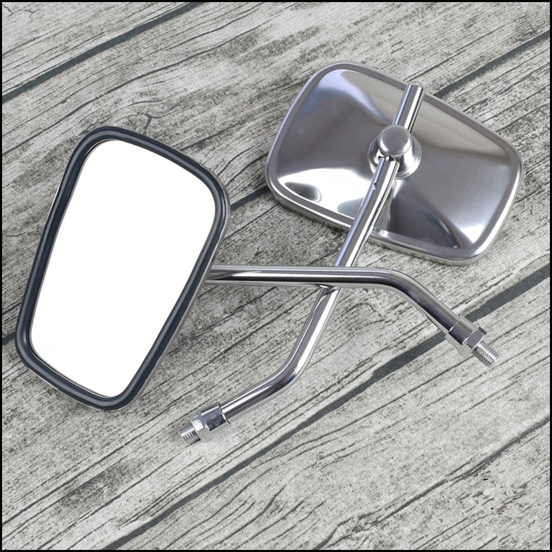 1 pair GN Retro Motorcycle Coffee Stainless Steel Rear View Reflective Rearview Mirror 10mm /8mm clockwise and counterclockwise