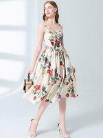Women girls cute floral print summer dress crystal beading spaghetti strap linen vintage elegant midi dresses new 2019 clothes