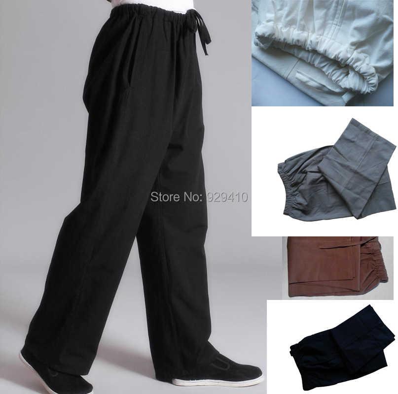 8 kolorów dla dorosłych mężczyzna mężczyźni stara gruba bawełna tai chi sztuki walki Spodnie dresowe czarny/niebieski Kung Fu wydajność ćwiczeń spodnie