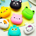 DreamShining New Fashion Lovely Kawaii Candy Color Cartoon Animal Girls Wallet Multicolor Jelly Silicone Coin Bag Purse Kid Gift