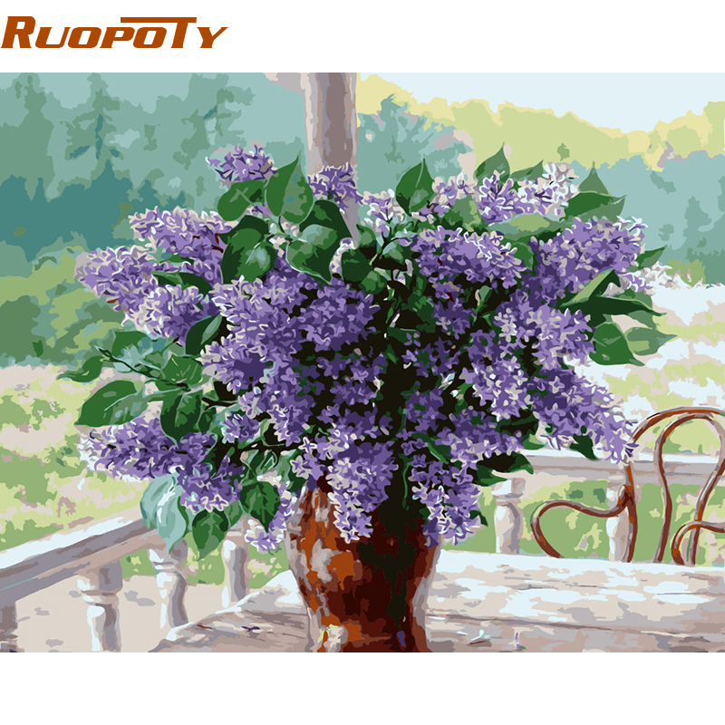 RUOPOTY Flower Home Decor Diy Painting By Numbers Wall Art Canvas - Home Decor