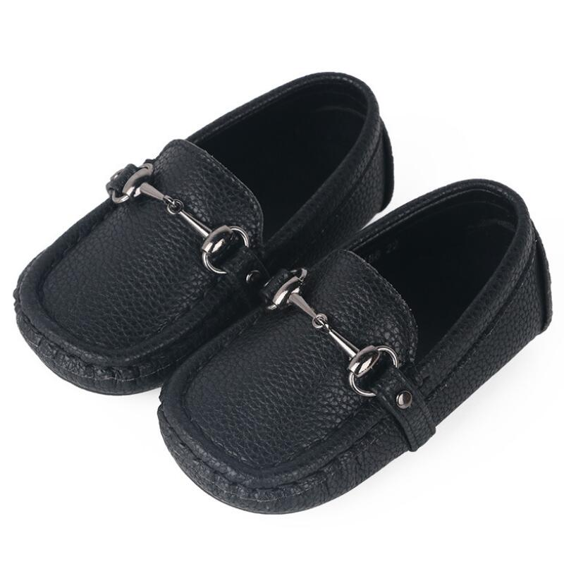 Image 5 - SKHEK Autumn Boys Microfiber Leather Casual Loafers Baby/Toddler/Little Kid Black White Flats Children School Uniform Dress Shoe-in Leather Shoes from Mother & Kids