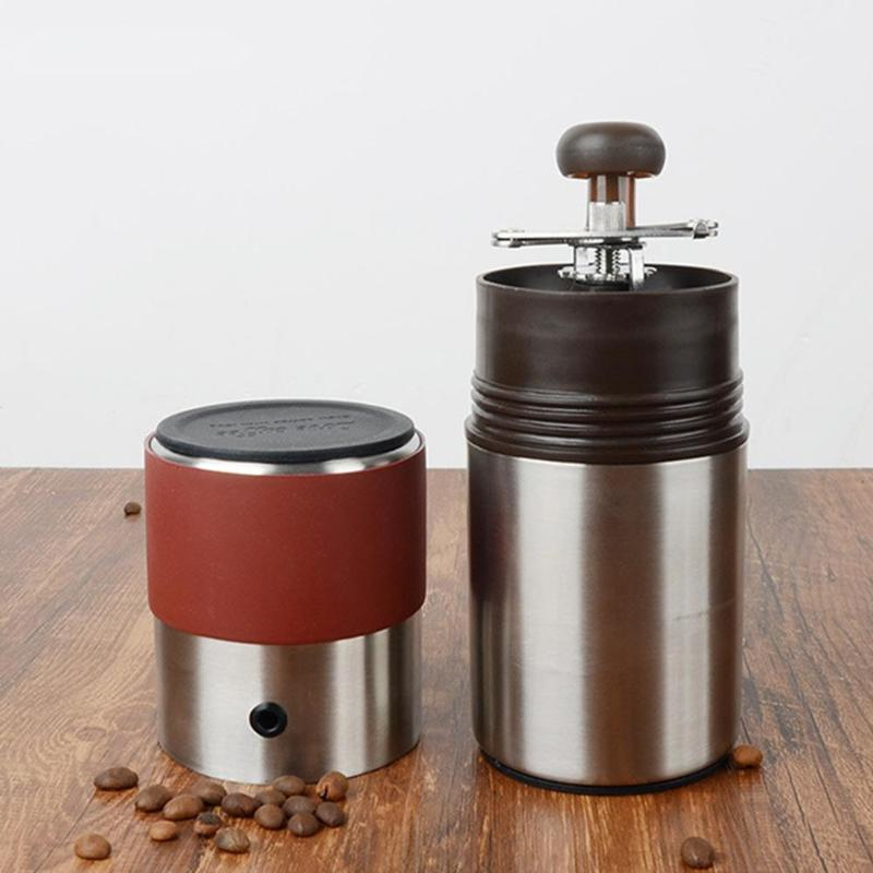 4 in 1 Folding Handle Coffee Grinder Mini Hand Coffee Maker Cup Manual Burr Grinder Portable Stainless Steel Grinding Machine fimei multifunctional manual coffee grinder vacuum cup portable stainless steel funnel filter ceramic grinding mechanism