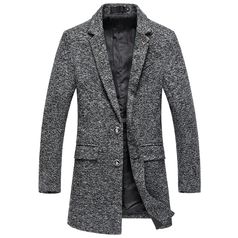 Men's trench coat autumn and winter thick tweed high quality wool long woolen coat / high quality warm fashion urban blends coat