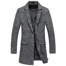 Mens trench coat autumn and winter thick tweed high quality wool long woolen / warm fashion urban blends
