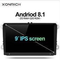 Xonrich Автомобильный мультимедийный плеер 2din автомобиля радио gps Android 8,1 для Volkswagen Passat b6 VW PoloT5 Skoda Octavia 2 Гольф 5 место leon