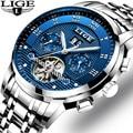 Мужские часы LIGE  фирменные Роскошные автоматические механические часы Tourbillon  деловые водонепроницаемые часы из нержавеющей стали