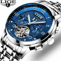 Mens Orologi LIGE Top Brand di Lusso Tourbillon Automatico Orologio Meccanico Mens di Affari In Acciaio Inox Orologio Da Polso Impermeabile Relogio