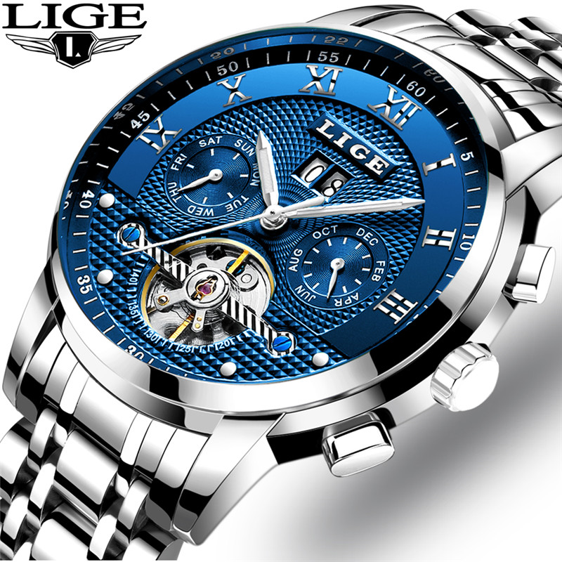 Mens Watches LIGE Top Brand Luxury Tourbillon Automatic Mechanical Watch Mens Business Stainless Steel Waterproof Watch Relogio