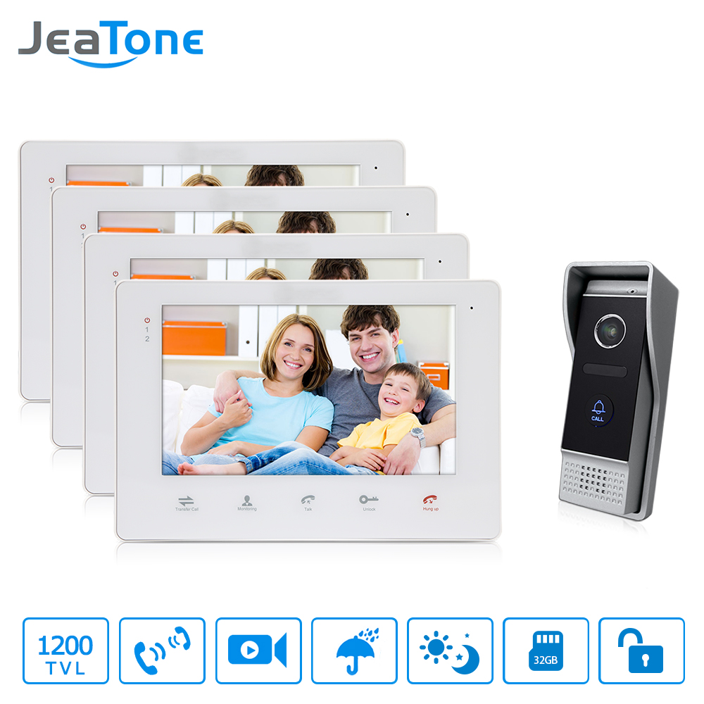JeaTone Video Intercom 7  Touch-Button Smart Indoor OSD Menu Monitor System Doorbell With Camera Remote Door Home Intercom василий головачев утечка информации
