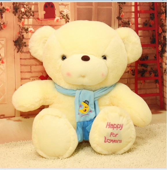 stuffed animal cute White teddy bear  happy  for lover plush toy 60cm blue or pink scarf  bear doll about 23 inch toy b7757 прогулочная коляска teddy bear sl 106 blue owl