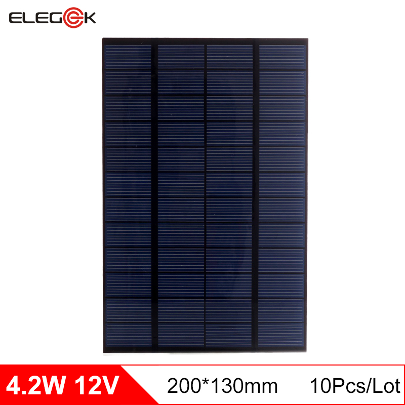 ELEGEEK 10pcs 4.2W 12V Polycrystalline Mini DIY Solar Panel Cell 350mA Solar Cell Module for DIY Test and Education 130*200*2mm