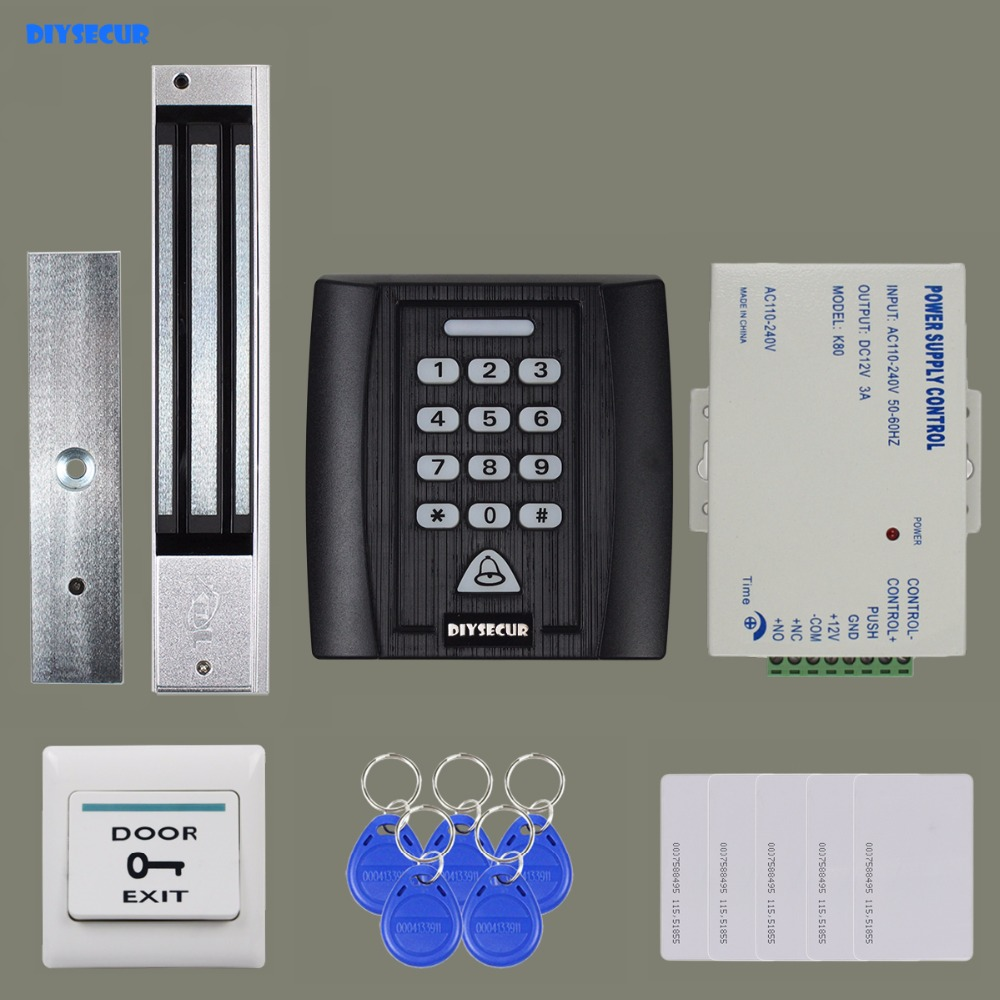 DIYSECUR 280kg Magnetic Lock 125KHz RFID Reader Password Keypad Access Control System Security Kit + Exit Button KS158 weigand reader door access control without software 125khz rfid card metal access control reader with 180 280kg magnetic lock