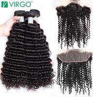 Virgo Brazilian Curly Bundles With Closure Human Hair Weave 3 Bundles Remy Lace Frontal Closure With Bundles 4 pcs/lot Free Ship
