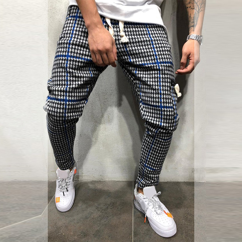 Men's Pants Clothing Sports-Fit Cotton Casual Full-Length Masculina Mid D40 Male