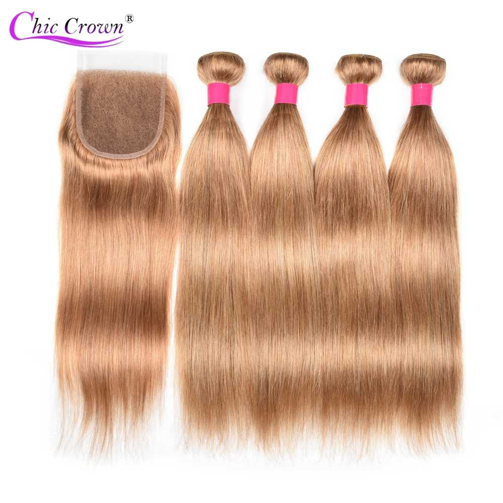 Colored Bundles With Closure Honey Blonde Bundles With Closure 27# Peruvian Hair Weave Straight Human Hair 4 Cheap Bundles