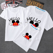 Cotton Mickey Mouse Family Clothing Short Sleeve Mom And Daughter Matching Clothes Print Father Son Outfits t shirt