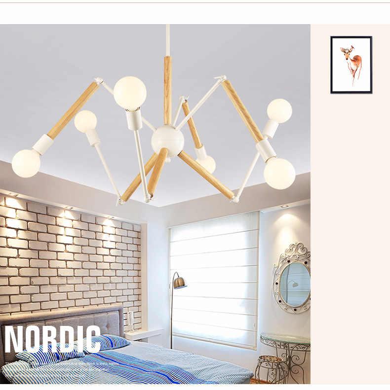 LukLoy из дерева паук подвесные светильники современные лампы света Регулируемый скандинавский Гостиная Лофт Кухня лампа с светодиодный лампы