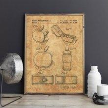 Patente de teléfono con logotipo de Apple, para amantes de iPhone, arte de pared tecnológico, carteles, decoración, estampado vintage, blueprint, idea de regalo, decoraciones de pared