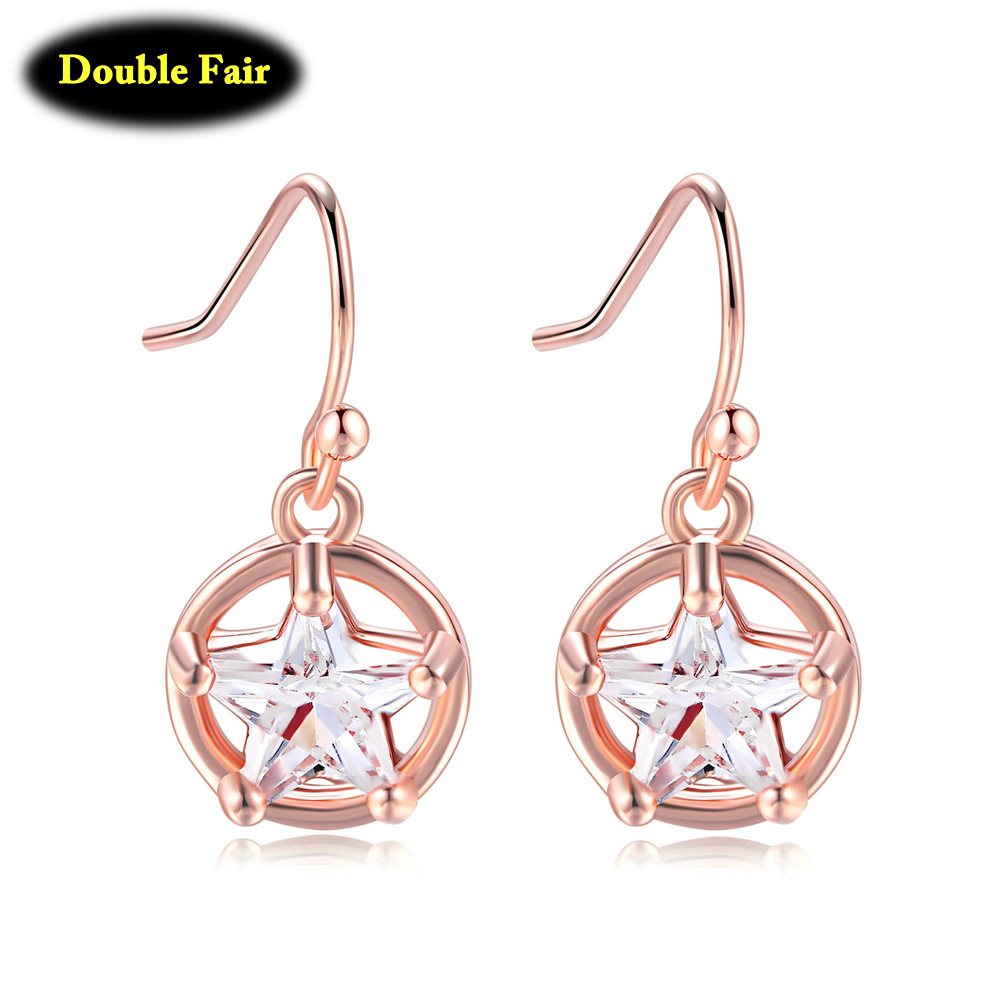 Jewelry & Accessories Amiable Fashion Polished Round Pendant Crystal Star Hoop Earrings For Women Girls Rose Gold Color Circle Earring Dwkc166m