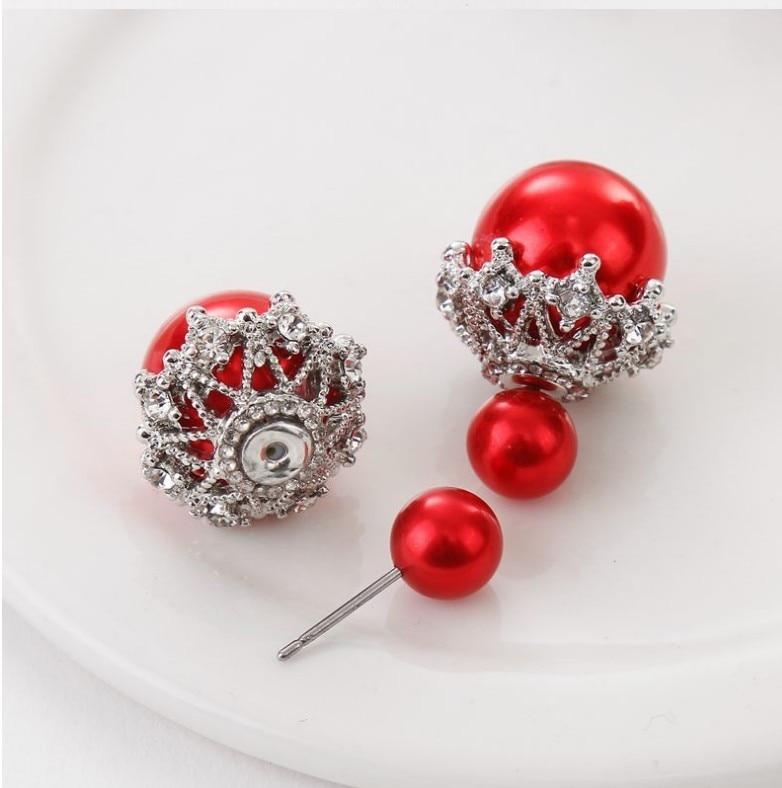 New design Sweet double side pearl stud earring lovely fashion ...