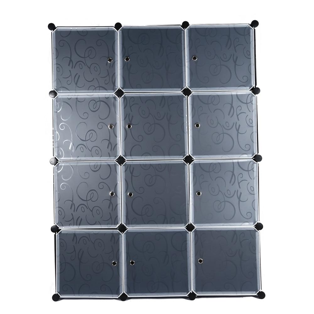 12/16/20 Cube Modular Wardrobe DIY Assembled Closet with Individual Transparent Doors Clothes Organizer Cabinet Steel Frame