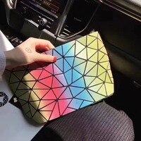 Kisumater Luminous Bag Women S Geometric Handbag Chain Shoulder Messenger Rainbow Bag Summer Hologram Free Shipping