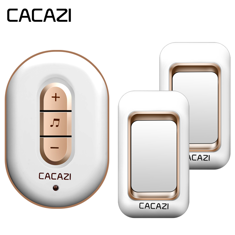 CACAZI Wireless Doorbell Waterproof 300M Remote 2 Battery Button + 1 Receiver US EU Plug Home Cordless Bell 6 Volume 48 Chime cacazi doorbell wireless waterproof 350m remote 2 battery button 3 receivers eu plug home cordless bell 48 chime 6 volume