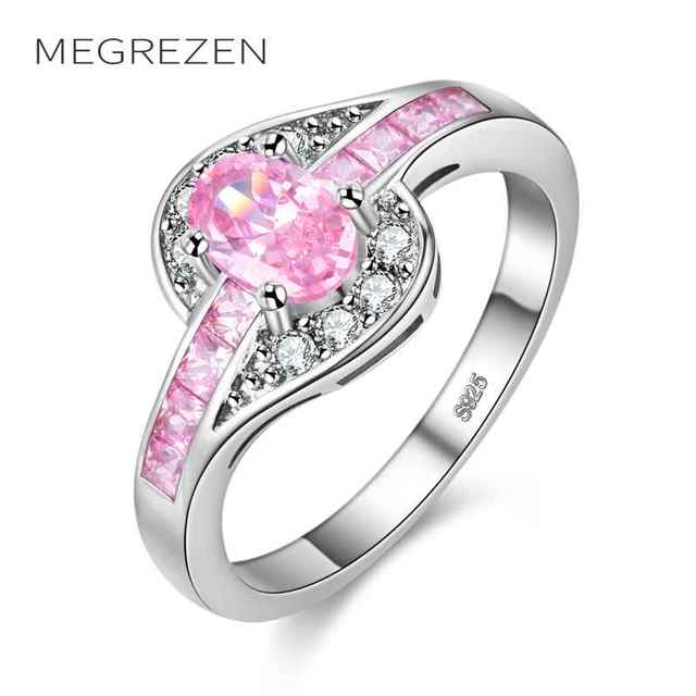 Megrezen Charms Silver Ring With Pink Stone For Wedding Costume Jewelry Engagement Rings Dropshipping Bijou Fantaisie