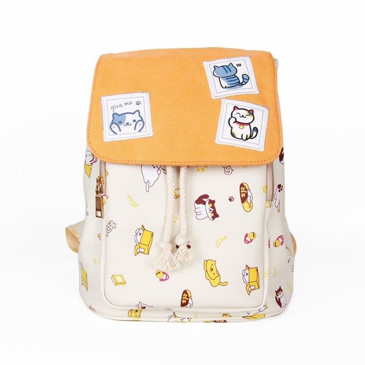 Anime Neko Atsume Pringt pu leather Backpack For Teenagers Boys Girls The cat backyard School Bags Cute Cat Student Backpacks 03