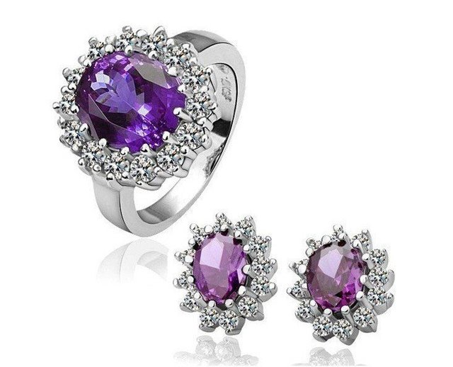 18KGPS050  Free Shipping  Gold Plated Purple Austria Crystal Jewelry Set,Crystal Jewelry Set Ring and Earrings ,Fashion Jewelry