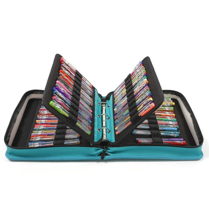 Porte-crayon d'école en cuir PU pour marqueur stylos à bille Gel étui à crayons pliant en spirale pour stylo enfant