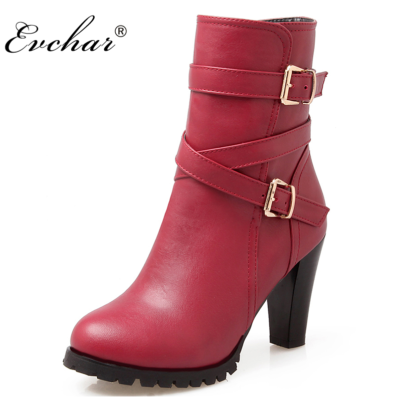 3 Colors Fashion Lady's Buckle Strap Women Boots Mid Calf  thick high heels  Autumn Winter Boots Platform   Shoes big size 34-43 new fashion spring autumn women shoes platform high heels buckle strap thick heels pumps lady shoes small big size 31 43 0061