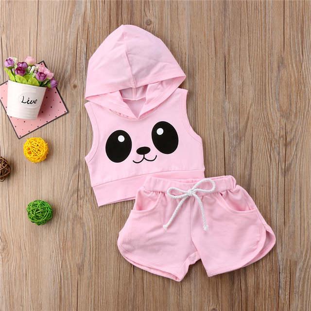a8709d2a3eb7 Online Shop Pink Panda Hooded Tracksuit Outfits Kids Toddler Girl Clothing  Set 2pcs Hooded Vest Crop Top+Shorts Children Sets