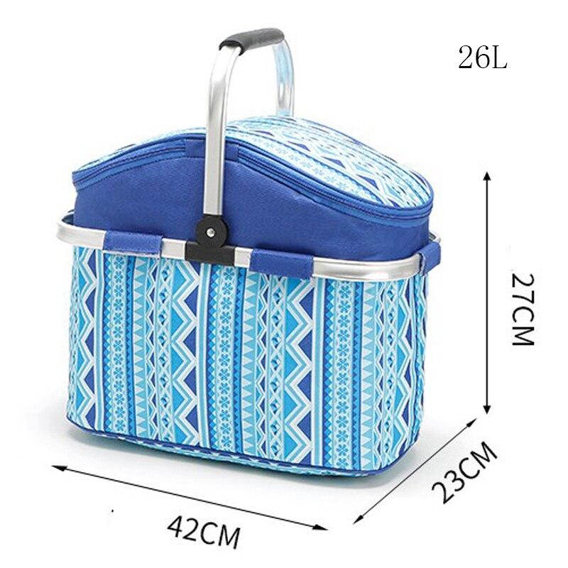 лучшая цена 26L Oxford Shopping Basket Cooler Bags Foldable Handbag for Wine Food Fruits Keeping Fresh Lunch Bag for Women Kids Picnic bags