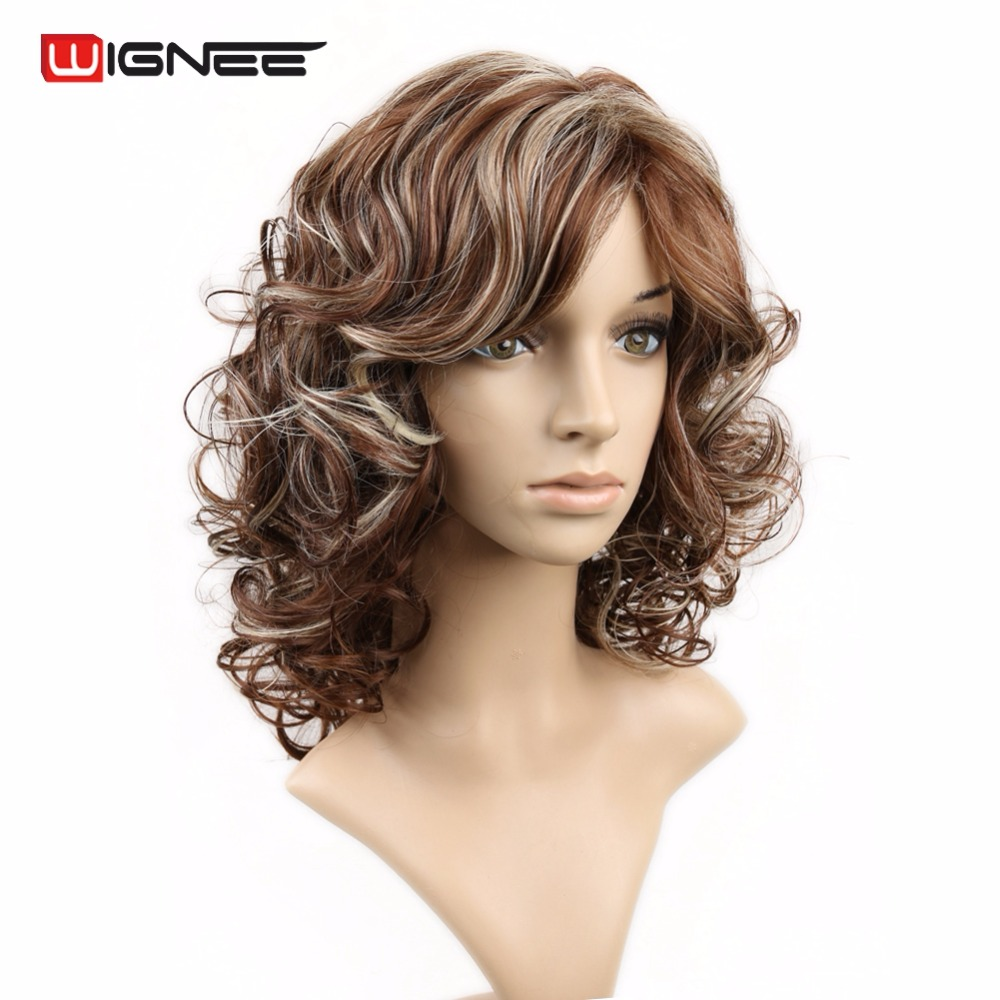 Wignee Medium Shoulder Length Mixed Brown & Ash Blonde Hair High Temperature Heat Resistant Synthetic Wigs For Black/White Women